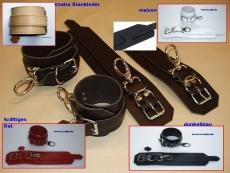 1 Paar Handfesseln Fesselvariationen in verschiedenen Ausführungen Echt Leder 26,5 x 6,5 cm mit Wirbelkarabiner