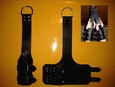 Paar große, breite Leder Fuss-Hänge-Fessel mit Doppelverschluss Unser Original in verschiedenen Farben