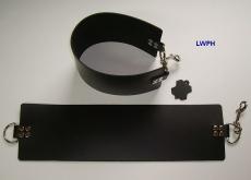 1 Paar Beinschlaufen Lederschlaufen extra breit mit Karabinerhaken und Ketten in vielen Farben von LWPH