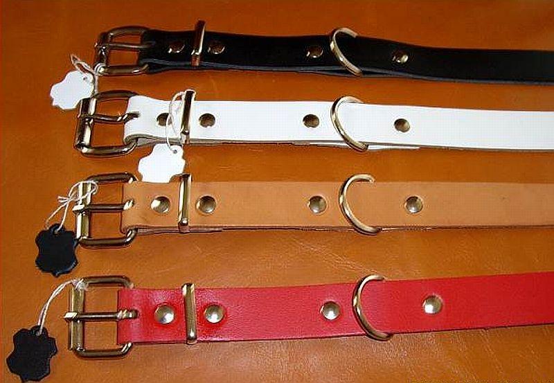 Lederriemen weiss 4,0 x 50,0 cm lang mit Rollschnalle Fixierungsriemen Halsband