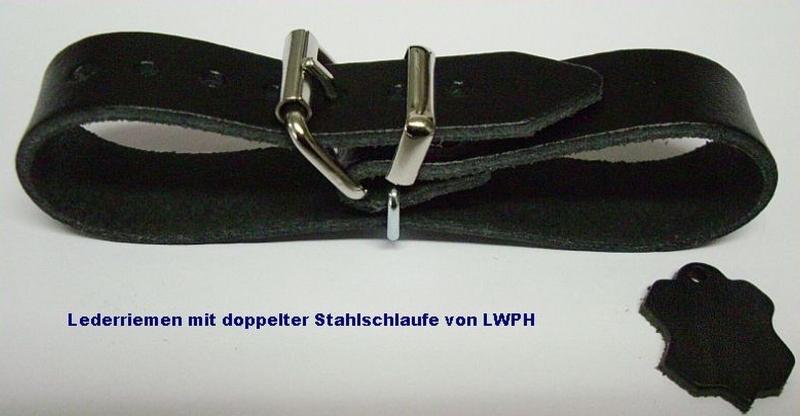 Lederriemen schwarz 4,0 x 30,0 cm lang mit Rollschnalle für universellen Einsatz