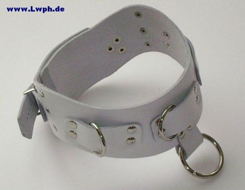 D-Ring und Rollschnalle von LWPH starkes Leder-Armband weiss mit Ziernieten
