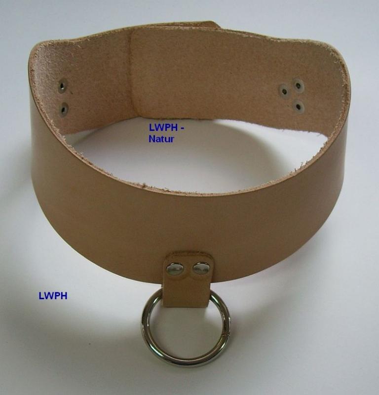 Rotes starkes Leder-Halsband 3,0 cm breit mit 3 Schmuck-Ringen von LWPH