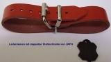 Lederriemen 2,0 cm breit mit doppelter Metallschlaufe in 6 Farben und div. Längen für Nostalgie-Kinderwagen u.v.m.