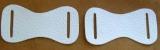 Leder-Bauteile, Formteile, Stanzteile, einmalige Bastelteile, mit 2 Langlöchern 7,5 cm in 6 Farben