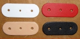 Leder-Formteil, Bastelteil, Stanzteil mit 3 Löchern gerundet in 6 Farben 2,5 cm x 6,5 cm