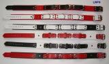 Super Lederhalsbänder mit Nieten, 3,0 cm breit verschweißten Ringen und Rollschnallen-Verschluß und Farbkombinationen