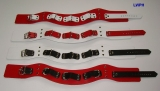 Super Leder-Halsbänder mit Nieten, 6,0 cm breit verschweißten Ringen anatomisch geformt mit Farbkombinationen
