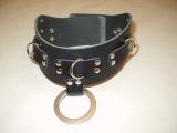 Super Leder-Halsbänder mit Nieten 5,0 cm breit verschweißten Ringen, O-Ring und Rollschnallen-Verschluß und Farbkombinationen