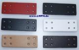 Leder-Bastelteil Formteil mit 8 Löchern in 6 Farben schwarz, weiss, natur, rot, dunkelblau, dunkelbraun