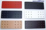 Leder-Bastelteil Formteil mit 18 Löchern in 6 Farben schwarz, weiss, natur, rot, dunkelblau, dunkelbraun von Lwph