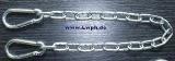 Rundstahl-Kette in verschiedenen Längen verzinkt mit 2 Karabinerhaken von Lwph auch für Fesseln + Führungsleine