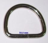 Starker D-Ring Halbrundringe Metallring vernickelt 50,0 mm x 6,9 mm x mittlere Höhe 40,0 mmverschweißt zum Basteln und Werken vom Lwph