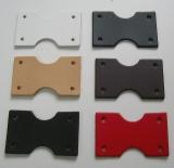 25 Leder Bastelteile schwarz gerundet 3 Löchern 2,5 x 6,0 cm Lederteile Formteil