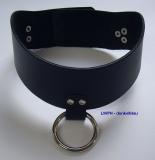 Lederhalsband O-Ring 6,0 cm breit verschweißten Ring, anatomisch geformt Rollschnallen-Verschluß in vielen Farben