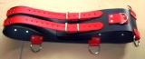 BDSM Taillengurt schwarz-rot kombination extra Breit 10,0 cm Lederriemen mit 5 D-Ringen, Klemmschutz + 6 Stück O-Ringen, von LWPH