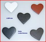 100 St. kleine Leder-Herzen ca. 3,0 x 2,5 cm in 6 Farben Herz zeigen für viele Verwendungsmöglichkeiten